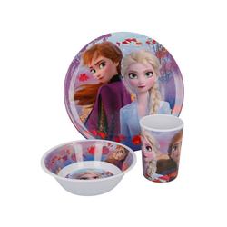 Disney Frozen Kindergeschirr-Set Eiskönigin Anna & Elsa Kinder Mädchen Geschirr-Set Teller Schale Becher (3-tlg), BPA-Frei