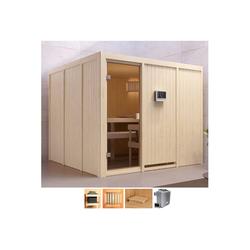 Karibu Sauna Ferun, BxTxH: 231 x 231 x 198 cm, 68 mm, 9-kW-Ofen mit ext. Steuerung