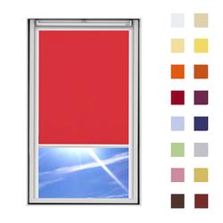 Dachfensterrollo guenstig nach Mass, Stoff Polyester, Farbe rot, mit Kassette oder als Springrollo, weitere 120 Farben im Shop