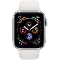 Apple Watch Series 4 (GPS + Cellular) 44mm Aluminiumgehäuse silber mit Sportarmband weiß