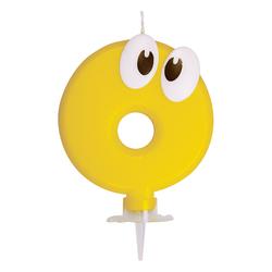 Zahlenkerze, Geburtstagskerze `0` gelb, ca. 90 mm