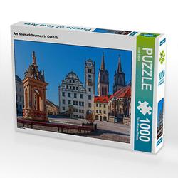 Am Neumarktbrunnen in Oschatz Lege-Größe 64 x 48 cm Foto-Puzzle Bild von wkbilder Puzzle