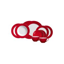 Ritzenhoff & Breker Geschirr-Set DOPPIO Rot Starterservice 10-tlg. (10-tlg), Porzellan
