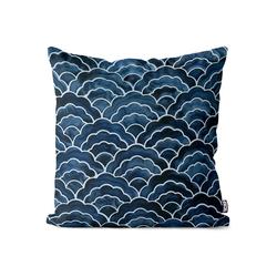 Kissenbezug, VOID (1 Stück), Japanische Wellen Kissenbezug Meer Ozean Japan Keramik Grafik Asien Urlaub 50 cm x 50 cm