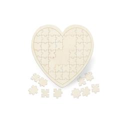 relaxdays Puzzle Herzpuzzle Hochzeit aus Holz, Puzzleteile