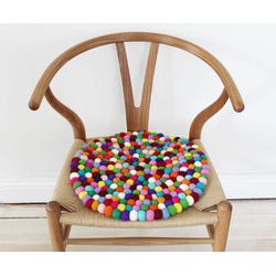 Wooldot Sitzkissen Mixed Color, rund, Filzkugel-Teppich, Wolle, auch als Set bestellbar bunt