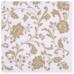 Linoows Papierserviette 20 Servietten goldene Arabesken, Blütenranken, Motiv Arabesken, Blütenranken Gold auf Weiß