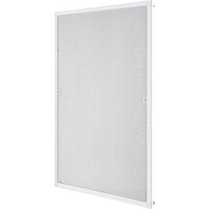 Juskys Fliegengitter mit Alu-Rahmen 80 x 100 cm – Insektenschutz & Mückenschutz für Fenster zum Einhängen – Insektenschutzgitter UV-beständig in Weiß
