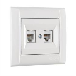 Defne Doppel Netzwerkdose 2x Cat 5 + Rahmen, VDE Zertifiziert, Unterputz, in weiß