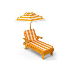 COSTWAY Gartenliege Kinderliege, mit Sonnenschirm und Kissen, belastbar bis 50kg, 92 x 49 x 106cm
