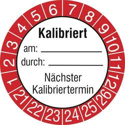 SafetyMarking 15 St. Prüfplakette Kalibriert am: durch: Nächster Kalibriertermin 2021-2026 Rot Fol