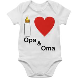 Shirtracer Shirtbody I love Opa und Oma Nuckelflasche - Up to Date Baby - Baby Body Kurzarm 12/18 Monate