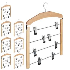8 x Rockbügel mehrfach, Hosenbügel Holz, 360° drehbarer Haken, Kleiderbügel rutschfest, HBT 45,5x39x2,5 cm, Silber/Natur