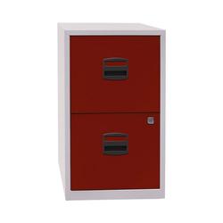 Bisley Home Hängeregisterschrank PFA aus Stahl, ohne Sockel, A4 rot 41.3 cm x 67.2 cm x 40 cm