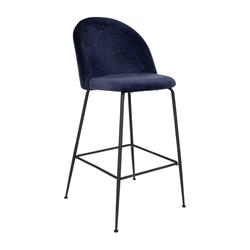 ebuy24 Barhocker 2er Set Laust Barhocker blau Velour, schwarze Bein