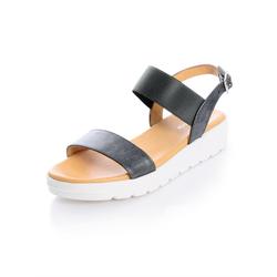 Alba Moda Sandalette aus Textil grau Damen Flats Sandalen Sandalen/ Sandaletten