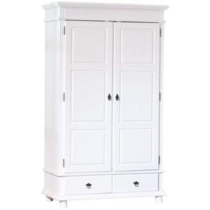 Inter Link Kleiderschrank Landhausschrank Schlafzimmerschrank Garderobenschrank FSC Kiefer massivholz weiss lackiert