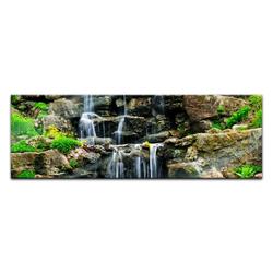 Bilderdepot24 Glasbild, Glasbild - Wasserfall II 120 cm x 40 cm