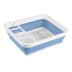 WENKO Küchenhelfer-Set Geschirrabtropfer faltbar Blau/Weiß