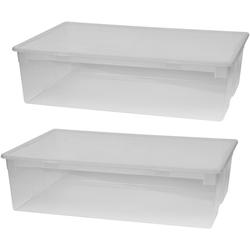 KREHER Aufbewahrungsbox 2er Set Aufbewahrungsboxen mit Deckel, Größe XL weiß