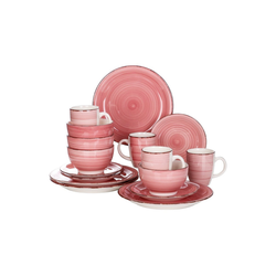 vancasso Tafelservice Bella (16-tlg), Steingut, 16 teilig Geschirrset aus Steingut rosa