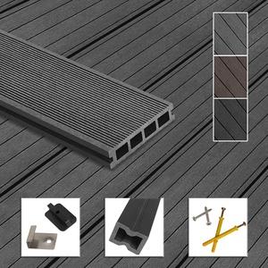 Montafox WPC Terrassendielen Dielen Komplettset Hohlkammerdiele Komplettbausatz Unterkonstruktion Clips, Größe (Fläche):46 m2 2.2m, Farbe:Grau