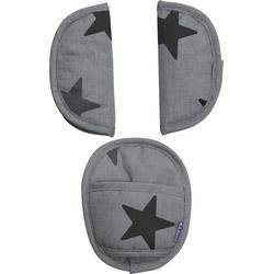 Dooky Gurtpolster für Babyschalen Überzug für Sicherheitsgurt Grey Stars