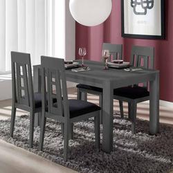 Essgruppe in Dunkelgrau Tisch ausziehbar (5-teilig)