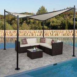Pergola MCW-A41, Garten Pavillon Sonnensegel, stabiles 6cm Stahl-Gestell 3x3m ~ creme
