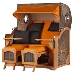 bene living Strandkorb Ammersee Grande XL Teak Bullauge - PE grau - Model, BxTxH: 142x95x170 cm, Ostsee-Strandkorb