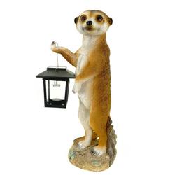 Kremers Schatzkiste Gartenfigur Erdmännchen Eddy mit Solarlaterne