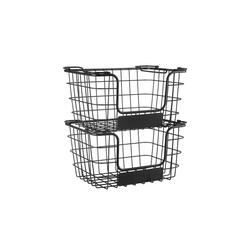 Superfy Aufbewahrungskorb Aufbewahrungskorb aus Metall, Allzweckkorb für Küche oder Badezimmer, stapelbar, 2-er Set