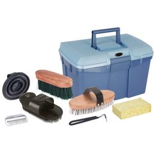 Kerbl Putzbox blau mit Inhalt (für Pferde, Pferdebürsten, Mähnenbürsten, Putzkiste mit Bürsten, Pferdepflege, Putzzeug blau) 321775