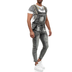 Egomaxx Slim-fit-Jeans 2626 Herren Latzjeans ARCHER grau W34