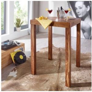 FINEBUY Bartisch FB36080, Bartisch Massivholz Sheesham 80 x 80 x 110 cm Bistro-Tisch modern Landhaus-Stil Holz-Steh-Tisch quadratisch dunkel-braun Natur-Produkt Massiv-Holz-Möbel Hausbar Esstisch Echt-Holz unbehandelt (FSC® Mix)
