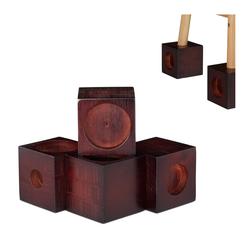 relaxdays Erhöhungs-Set Möbelerhöhung Bambus 4er Set