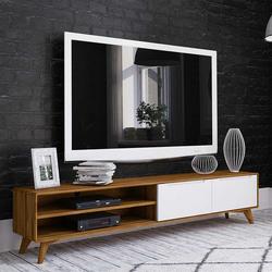 Fernsehtisch in Weiß und Wildeiche 220 cm breit