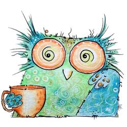 Wall-Art Wandtattoo Vogel Kaffee Eule - Coffee Owl (1 Stück) 60 cm x 52 cm x 0,1 cm