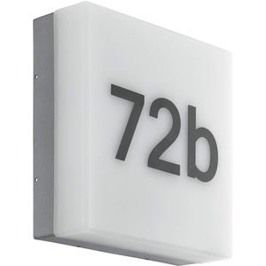EGLO LED Außen-Wandlampe Cornale, 1 flammige Außenleuchte inkl. Tageslichtsensor und Hausnummern, Wandleuchte aus Kunststoff, Farbe: Anthrazit, weiß, IP44