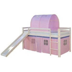 Homestyle4u Hochbett weißes Kinderbett mit Rutsche & rosa Stoffvorhang, verschiedene Ausführungen