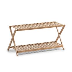 Zeller Bamboo Schuhregal mit 2 Ablagen, Stabiles Bambus-Schuhregal mit 2 Ebenen, Maße: ca. 70 x 30 x 32 cm