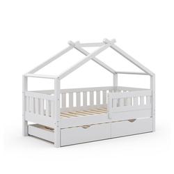 VitaliSpa® Kinderbett Design 160x80 Babybett Hausbett Gästebett Lattenrost weiß weiß