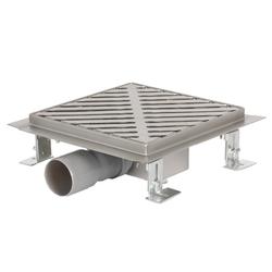 Lüllmann Duschrinne Edelstahl Duschrinne Wasser Dusch Ablauf Bodenablauf, 1-St., umlaufendem Fließenflansch (20mm) - inkl. Bodenausgleichsfüße / Nevellierfüße für den optimalen Wasserablauf. 15 cm x 15.00 cm