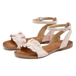 LASCANA Sandale aus hochwertigem Leder mit kleinen Rüschen rosa 41
