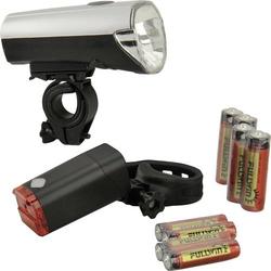 Fischer Fahrrad Fahrradbeleuchtung Set 85330 LED batteriebetrieben Silber (matt)