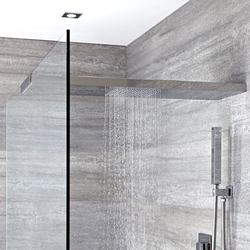 Duschkopf-Duschglaswandhalterung in Kombination 800mm x 250mm - Tratham, von Hudson Reed