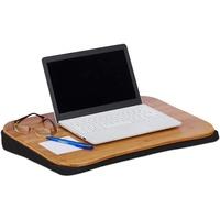 Relaxdays Relaxdays, Natur Laptopkissen Bambus, abnehmbares Kissen, Tragegriff, Laptop Unterlage BxT: 51 x 37 cm (bis 22 Zoll), Standard