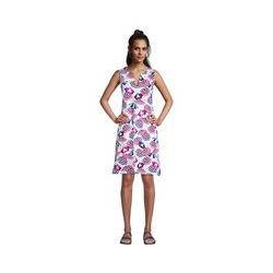 Strandkleid Print, Damen, Größe: L Normal, Weiß, Jersey, by Lands' End, Weiß Sonnenschirm - L - Weiß Sonnenschirm