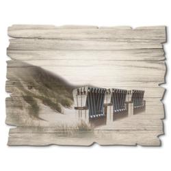 Artland Holzbild Strandkörbe, Strand (1 Stück)