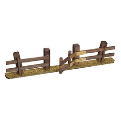 Zaun mit Tor aus Holz, 29,5 x 3 x 6 cm